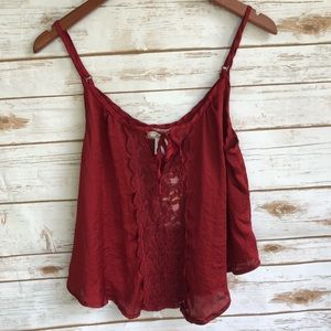NWT Band of Gypsies Red Lingerie Top Sz M ::D5